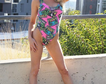 Welcome to Miami 1980's Graphic Thong One-Piece