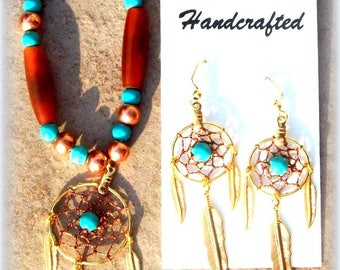 DREAMY DREAMCATCHER Necklace, earring set, Turquoise, copper, Ram horn dream catcher jewelry set, Native American made, beaded, boho, tribal