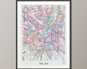 Milan watercolor Etsy
