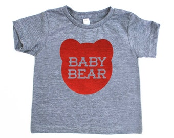 Baby Bear Infant TriBlend Heather Grey TShirt with Red Print