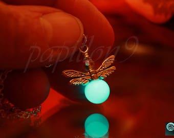 Firefly / Glow in the Dark /  Firefly necklace / Glow Firefly / Firefly Pendant / Glass bubble Firefly / Fireflies /