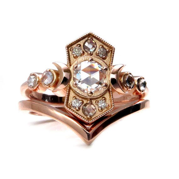 Old Soul Moissanite Moon Engagement Ring Set - Celestial Rose Gold Fine Jewelry