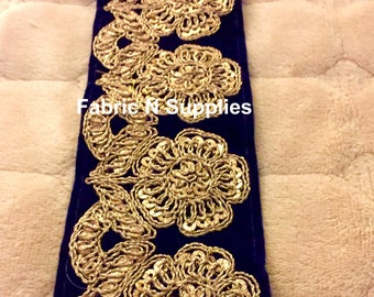 Border Ribbon Trim Embroidered Valvet Sequin 2.6 Inches Width