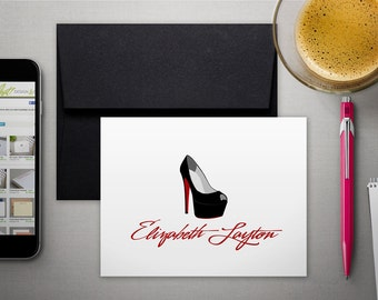 Personalized Stationery   Custom Stationary   Personalized Cards   RED BOTTOMS   High Heels   High Heeled Shoe