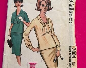 Vintage McCalls Pattern 7004 Misses Two Piece Dress Size 12 Bust 32 1960s