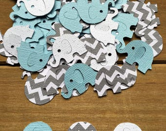 Blue and Gray Elephant Confetti, Chevron Elephant, It's a Boy, elephant decoration, elephant baby shower, baby shower confetti, die cut