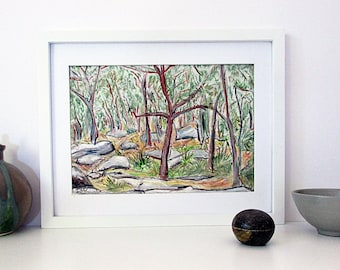 Original Australian Landscape Drawing, Modern Art, Oil Pastel Drawing, Gum Trees, Natural, Horizontal A4 Unframed, Christmas  Gift for Him