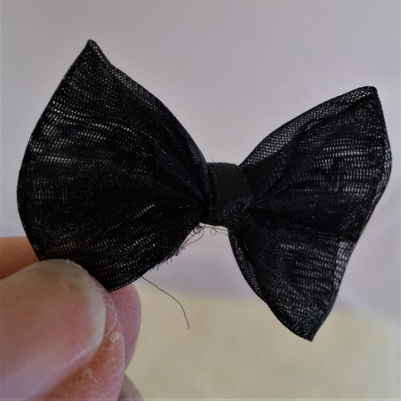 CLEARANCE 19 pcs Small Black Bows Fabric Bows Craft Card Embellishment Jewelry Trim Cabochon Rings Hair Clips Sewing Scrapbooking Choker