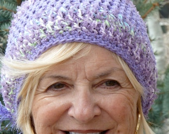 Lilac winter hat, women's winter crochet hat, purple skullcap with style and class, Bohemian accessories, unique winter hat, chic lilac hat