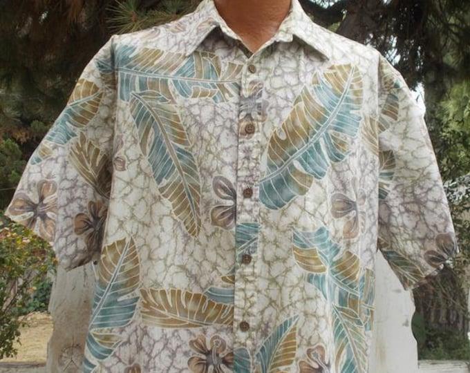 Vintage 80s 90s Hawaiian Cooke Street Honolulu Brown Green White Cotton Hibiscus Flower Leaf Mens Short Sleeve Shirt