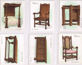 British Cigarette Card Set (25 Cards) -  Old Furniture. Issued 1923 by Wills Cigarettes. Antique Furniture Depicted With Description.