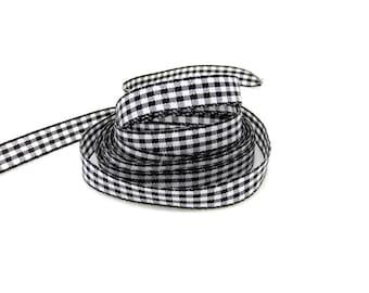 Black, white, gingham Ribbon, cotton, 10 mm