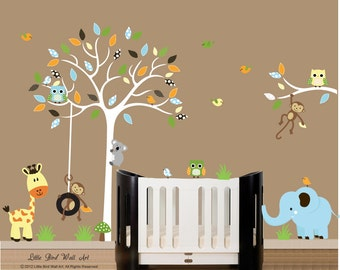 Wall decals for nursery white tree wall decal with tree branch wall decal sticker - 037