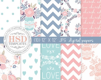 Shabby Chic Digital Paper - Blue Pink Peach Rustic Digital Papers - Floral Digital Scrapbook Paper - Digital Background - DP138