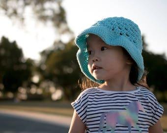 Blue Bucket Hat, Crochet Hat