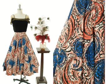 Vintage 1950s Skirt - Gorgeous California Made Skirt inspired by Mexican Tourist Skirts with Coral Feather and Blue Sequined Paisleys