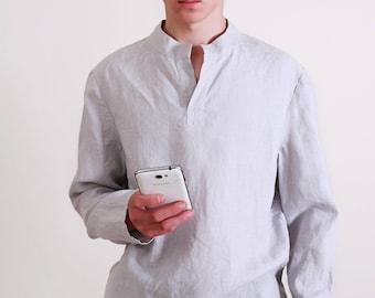 Linen Shirt  Men's  /  Casual Style Men's Shirt/ Longsleeve Shirt for Men/ Flax Men's Shirt/  Men's shirt in Silver Grey/ Men's Beach Shirt
