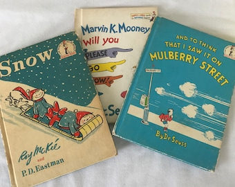 Vintage Dr. Suess Books Marvin K Mooney will you Please Go Now and To Think That I saw it on Mulberry Street and Snow