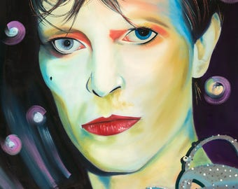 A2 size 'Otherworldly Eyes' David Bowie inspired  Giclee Artist Signed Limited Edition Print #1 of 25 by the artist John 'josimo' Paterson.
