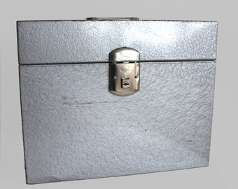 Metal File Box Vintage With Key / Industrial Style/ Climax File Box/ Gray Metal Box