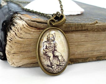 Deep Sea Diver Necklace - Antique Nautical Print Pendant in Bronze