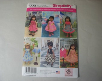 """New Simplicity 18"""" Doll Clothing Pattern, 1220  (Free US Shipping)"""