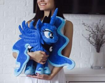 Princess Luna Inspired Stuffed Alicorn Pony Pegasus Unicorn Handmade Plushie Soft Toy