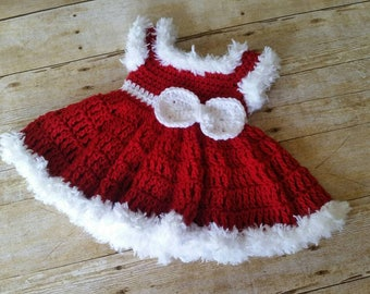 Baby Dress, Crochet Baby Dress, Red Baby Dress, Christmas Baby Dress, Baby Shower Gift, Infant Dress, Baby Photo Prop, Vestido de Bebe Nina