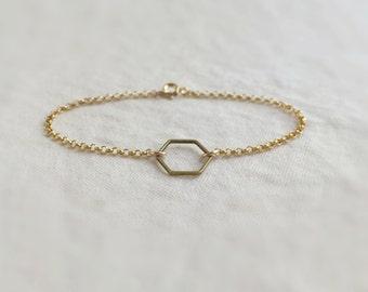 The hexagon (bracelet) - Raw brass hexagon ring on 14K Gold Filled