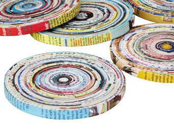 Set of 5 quilled magazine paper coasters, FREE SHIPPING, sustainable gift, eco friendly tabletop, upcycled centerpiece