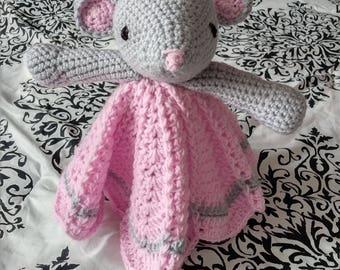 Elsie the Mouse Crochet Lovey Toy Blanket Blankie