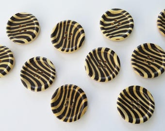 10 zebra stripe buttons - wooden buttons -  black striped buttons - 3 cm
