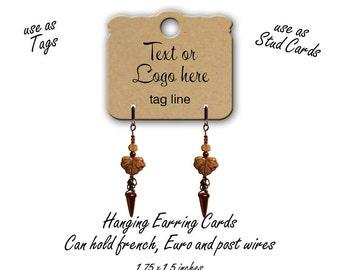 Custom Jewelry Cards, Stud Ear Cards, Earring Cards, Custom Tags, Jewelry Display, Hanging Jewelry Cards, Hanging Earring Card,tag 11