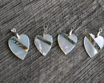 Abalone and Pearl Heart Necklace, Abalone Necklace, Pearl Heart, Abalone Heart