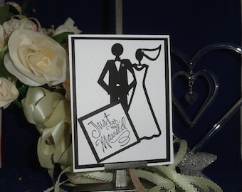 Wedding gift card. Layered cardstock. Hand made. Free shipping