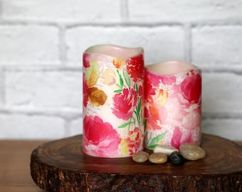 Decorative Pillar Candle Gift Set, Garden Decoration, Pink Floral LED Candle, Gift For Nana, Birthday Gift For Sister, Whimsical Home Decor