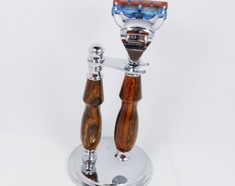 Handcrafted Cocobolo Wood - Chrome Shaving Set designed for Fusion/M3/DE Safety Razor with Stand
