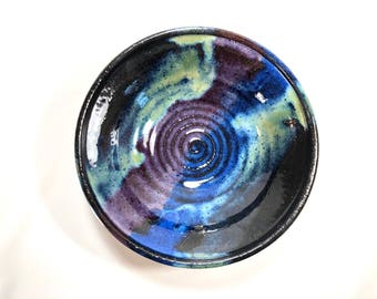 Handmade Pottery Rice Bowl, Pottery Rice Bowl, Blue, Green, Purple Ceramic Bowl, wheel thrown pottery, hand thrown bowl