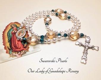 Virgen de Guadalupe Rosary. Swarovsky Rosary. Our Lady of Guadalupe Rosary. White Rosary. Catholic Rosary. Holy Rosary. Catholic Gift #R174