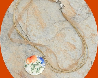 Now Only 5 Dollars! Simple Elegance! Hand Painted Mother of Pearl Pendant on 3 Strands of Silk Thread & Peach Ribbon with a Hint of Sparkle