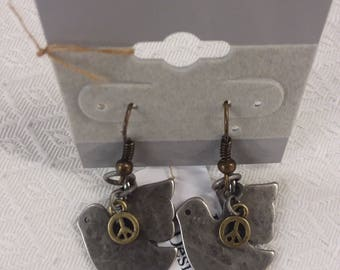 Dove and peace sign earrings