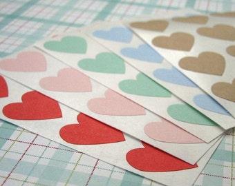 108 Heart Sticker Seals 3/4 inch - Choose Color Pink, Red, Blue, Green, Kraft, Purple, Gray, White