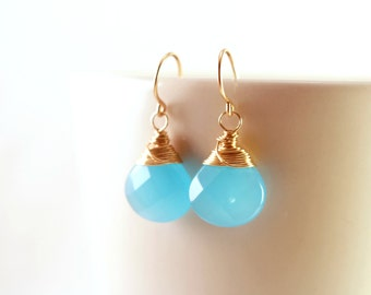 Dangling Blue Gemstone Earrings, Peruvian Blue Chalcedony Earrings, Light Blue Earrings, Aqua Blue Earrings, Gold Bridesmaid Jewelry