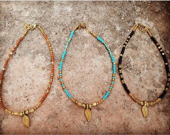 Gypsy feather brass anklets, hippie anklet, boho anklet