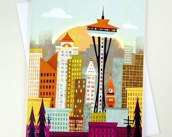 Seattle Skyline, A2 greeting card with envelope by Amber Leaders