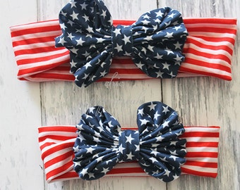 4th of July Baby Headband, Baby Headwrap, Baby Headband, 4th of July Headband, Baby knot headband, Girls Headband, Girls Headwrap, ,