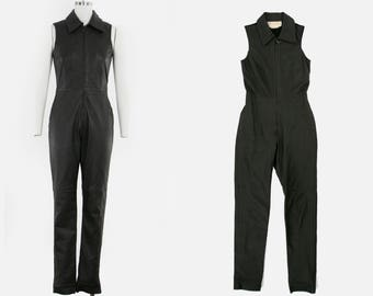 Vintage Brown Leather Jumpsuit - Sleeveless - Collar - One Piece - Zipper Front - Cat Suit - Women's Small - Size 4 - S