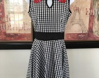 Gingham Short Dress with Cherries