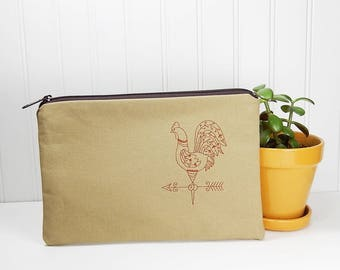 Rooster Cosmetic bag, makeup bag, pouch, flat pouch, canvas zipper pouch, made in Maine, rooster zipper bag, makeup bag