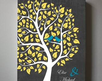 Family Tree With Birds , Personalized Family Name Sign, Canvas Art, Anniversary Christmas Gift, Wedding sign